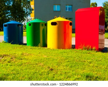 Colorful recycling dumpsters in a residential area in Tallin, Estonia, Europe