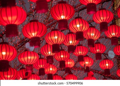Colorful red Chinese lanterns shine for New Year,Hanging for decorated.