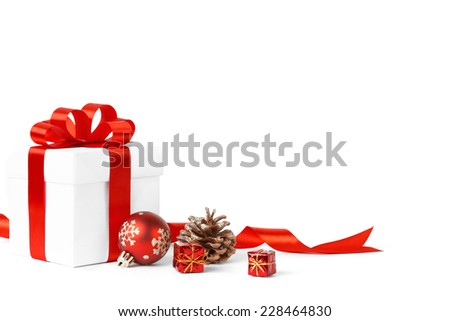 Colorful Red Gifts Christmas Balls Isolated Stock Photo (Edit Now ...