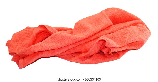 colorful red towel isolated on a white background