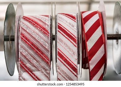 Colorful Red and White Christmas Wrapping, Decorating, Bow Making Ribbons