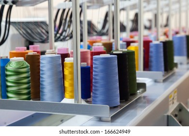 Colorful reels of threads background