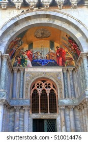Colorful religious scenes on the front facade of the Patriarchal Cathedral Basilica of Saint Mark (Basilica Cattedrale Patriarcale di San Marco), Venice, Italy