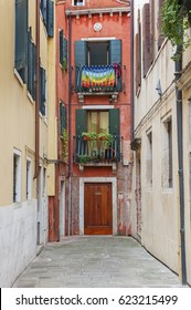 Colorful residential house in Venice, Italy