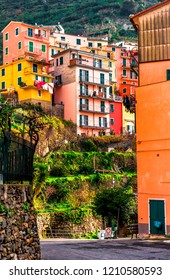 Colorful residential houses vertical view of Manarola. Manarola is a small town in the province of La Spezia, Liguria, northern Italy.