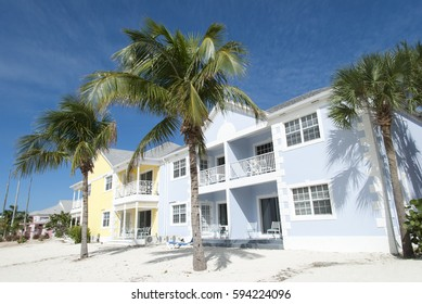 Colorful resort buildings on New Providence island (The Bahamas).