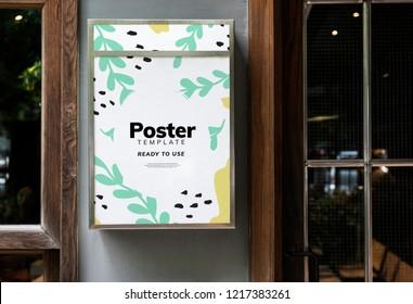Colorful restaurant signage mockup design