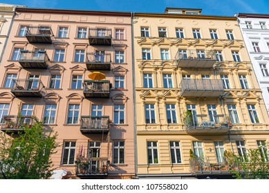 Colorful restored old residential construction seen at the Prenzlauer Berg district in Berlin, Germany