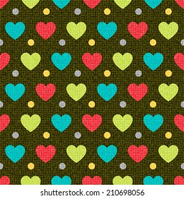 Colorful retro seamless in the polka dot and heart on the black background