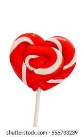 Colorful retro style heart shape lollipop isolated on white background