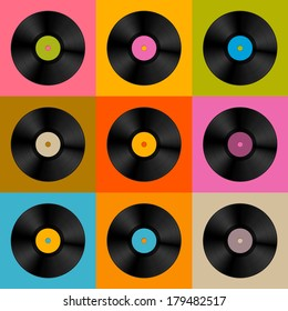 Colorful Retro, Vintage Vinyl Record Disc Background