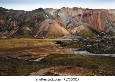 The colorful rhyolite mountains of Landmannalaugar in Fjallabak national reserve, Iceland
