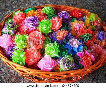 Colorful ribbon flowers coins folding mulberry stock photo edit now colorful ribbon flowers and coins folding with mulberry paper for giving alms to make merit in mightylinksfo