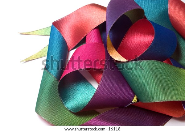 colorful ribbon on white background
