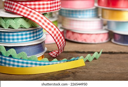 colorful ribbon rolls on white
