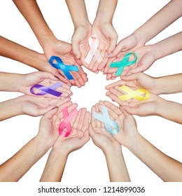 colorful ribbons, cancer awareness, World cancer day background. many ribbons on hands isolated on white.