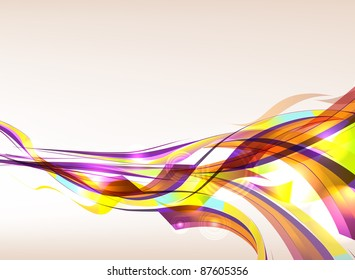 Colorful ribbons flowing