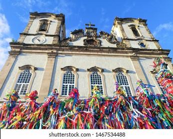 Colorful ribbons in front of Bonfim church in Salvador, Bahia, Brazil