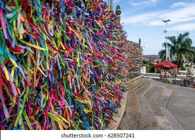Colorful ribbons of Lord of Bonfim in front of Nosso Senhor do Bonfim Church - Salvador, Bahia, Brazil