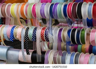 colorful ribbons in the store for hobbies.
