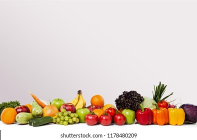 Colorful ripe vegetables and fruits
