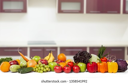 Colorful ripe vegetables and fruits isolated on white