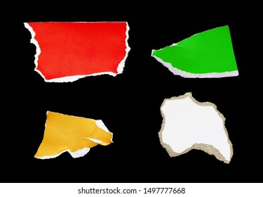 Colorful of ripped paper on black background, space for advertising copy.