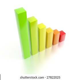 Colorful rising 3d bar chart. For other similar images from the series, please, check my portfolio.