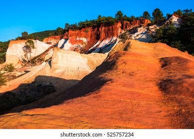 Colorful rock formations from ocher in the Colorado Provenzal, Provence, France