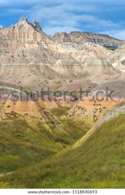Colorful rock layers in Conata Basin in Badlands National Park, South Dakota - USA