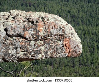 A colorful rocky overhang suspended over a pine forest background; Mogollon Rim in Apache-Sitgreaves National Forest in Arizona