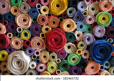 colorful roll mulberry paper background.