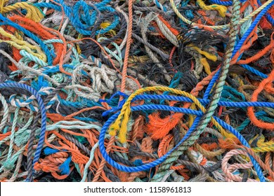 Colorful ropes at Peggy's Cove, Nova Scotia on July 17, 2018