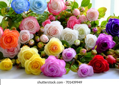 Colorful roses flower background, group of multicolor rose make from clay, handmade product from clever of hand, ornament from clay art so amazing
