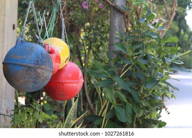 colorful round float hanging at fisherman house