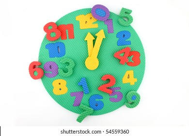 Colorful and round toy clock with time disorder