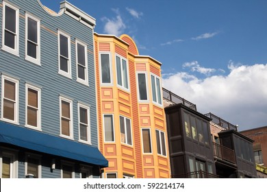 Colorful row building in downtown Park City, Utah
