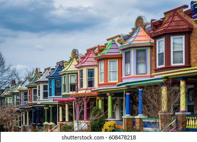 Colorful row houses along Guilford Avenue in Charles Village, Baltimore, Maryland.