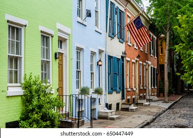 Colorful row houses along Panama Street near Filter Square, Philadelphia, Pennsylvania.