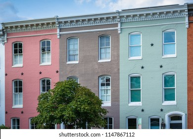 Colorful row houses in Federal Hill, Baltimore, Maryland