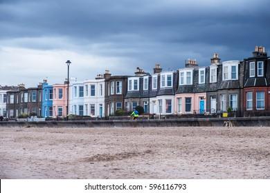 Colorful row of houses on Edinburgh's Portobello Beach. Scotland, UK