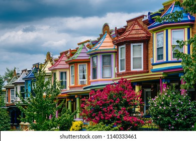 Colorful row houses on Guilford Avenue, in Baltimore, Maryland