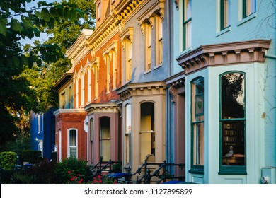 Colorful row houses on Independence Avenue in Capitol Hill, Washington, DC.