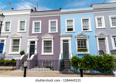 Colorful row houses seen in Notting Hill, London