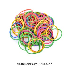 colorful rubber bands isolated on white.