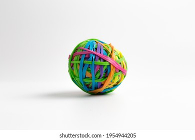 Colorful Rubberband Ball isolated on white background