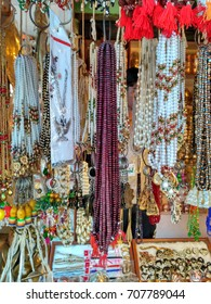 Colorful rudraksh and beads jewelry street market