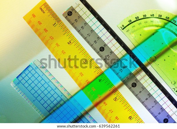 Colorful Rulers On Abstract Television Screen background