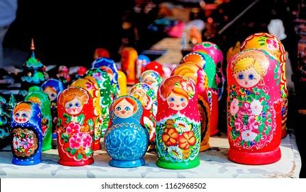 Colorful Russian matryoshka at the market in Krakow