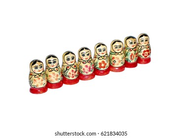 Colorful Russian nesting dolls isolated on white background
